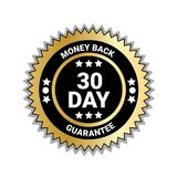 Money Back In 30 Days Guarantee Seal Golden Medal Isolated. Vector Illustration Stock Images
