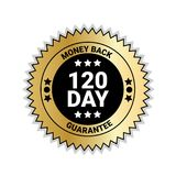 Money Back In 120 Days Guarantee Sticker Golden Medal Isolated. Vector Illustration royalty free illustration