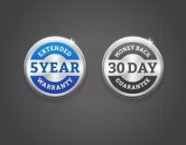 Money Back and Extended Warranty Silver Badges. Extended warranty and 30-day money back guarantee silver badges. EPS 10. RGB Stock Photos