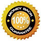 Money back guarantee. Label over white stock illustration