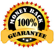 Money back guarantee. Label isolated over white Stock Images