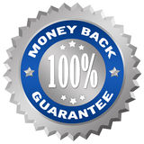 Money back guarantee. Silver badge Stock Image