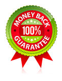 Money back guarantee. Red 100 procent money back guarantee label royalty free illustration