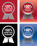 Money back guarantee. Four different colors of 100% money back guarantee seal - illustration royalty free illustration