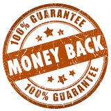 Money back guarantee. 100% money back grunge stamp Stock Photography