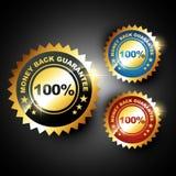 Money back guarantee. Stylish golden money back guarantee label sign Royalty Free Stock Images
