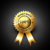 Money back guarantee. Vector golden label Stock Photography