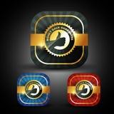 Money back guarantee. Stylish golden money back guarantee label sign Stock Photos