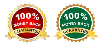 Money back guarantee. Illustration of money back guarantee label Stock Images