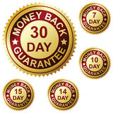 Money back guarantee. Golden label vector illustration