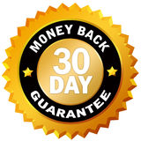 Money back guarantee 30 day. Isolated over white stock illustration