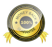 Money Back Guarantee Badge. Shiny100%  money back guarantee icon badge in golden and black Royalty Free Stock Photos