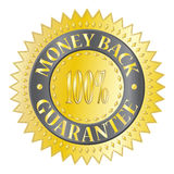 Money Back Guarantee Badge. A textured gold money back guaranteed badge isolated on a white background Royalty Free Stock Photos