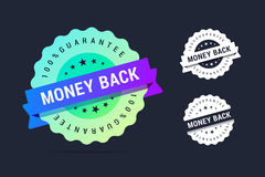 Money back guarantee badge. Vector stamp with colorful gradient. Black and white variants vector illustration