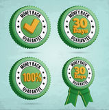 Money back guarantee badges. 3D badges with money back text. EPS10 Vector Illustration