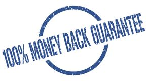 100% money back guarantee stamp. 100% money back guarantee blue round stamp royalty free illustration
