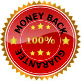 Money back guarantee. Bright, red and gold sticker or seal with the words money back guarantee 100 royalty free illustration