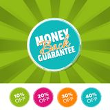 Money back Guarantee color banner and 10%, 20%, 30% & 40% Off Marks. Vector illustration. Money back Guarantee color banner and 10%, 20%, 30% & 40% Off Royalty Free Stock Photo