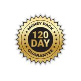 Money Back With Guarantee In 120 Days Golden Seal Stamp Or Label Isolated. Vector Illustration stock illustration