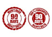 Money back guarantee 90 days rubber stamp inprint. Vector ninety stamp guarantee illustration stock illustration