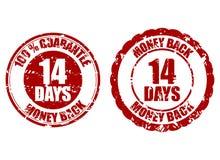 Money back guarantee 14 days rubber stamp. Fourteen days repay, riskfree refund, return money illustration royalty free illustration