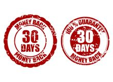 Money back guarantee 30 days rubber stamp. Vector thirty days stamp guarantee, warranty money illustration Stock Photography