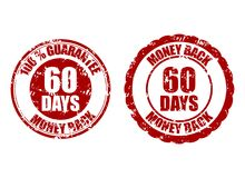 Money back guarantee 60 days rubber stamp red. Sixty days money back control period, return finance. Vector illustration stock illustration