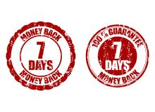 Money back guarantee 7 days. Vector guarantee seven days risk-free, time refund warranty illustration stock illustration