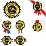 Money Back Guarantee with Red, Blue and White Ribbons. A gold 100% Money Back Guarantee badge with multiple variations. Red ribbons, blue ribbons and also a stock illustration