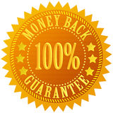 Money back guarantee. Gold star Royalty Free Stock Image