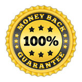 Money Back Guarantee. Golden label royalty free illustration