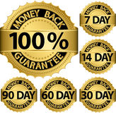 Money back guarantee golden set Stock Photos