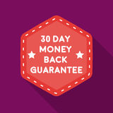 Money back guarantee icon in flat style  on white background. Label symbol stock vector illustration. Royalty Free Stock Image