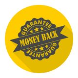 Money back guarantee icon with long shadow. Vector icon stock illustration