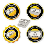 Money back guarantee icons, circular stickers with dollar Stock Images
