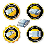 Money back guarantee icons, circular stickers with euro Stock Photography