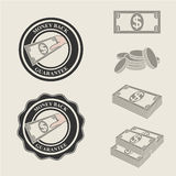 Money back guarantee icons and symbols of payment. Illustration stock illustration