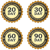 Money back guarantee. Illustrated set of money back guarantee labels for 20, 30, 60, and 90 day duration periods in grey and dark gold vector illustration