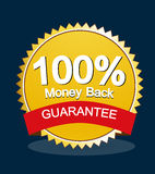 Money back guarantee. A  illustration of a gold money back guarantee  label on a dark blue background Stock Image
