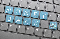 Money back guarantee. Key on keyboard stock illustration