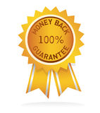 Money back guarantee label. Illustrated golden cockade for money back guarantee royalty free illustration
