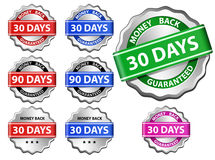 Money back guarantee label. Money back guaranteed sign set Stock Photo