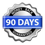 Money back guarantee label. 90 days money back guarantee sign. Vector illustration royalty free illustration