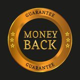 Money back guarantee label. On black background. Vector illustration Stock Image