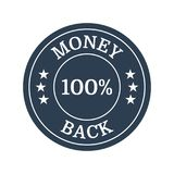 Money back guarantee label. Money back flat guarantee label on white background. Vector illustration Stock Image