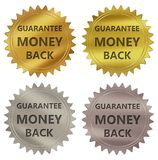 Money back guarantee label. Money back guarantee 3d rendered 4 color tag , golden guarantee label Stock Photos