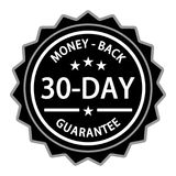 Money Back Guarantee Label. Money back with a thirty day guarantee label on white Stock Photos
