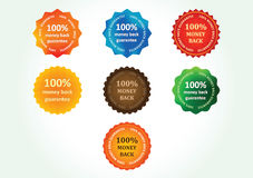 Money back guarantee labels Stock Photography