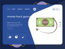 Money back guarantee Landing page website template design. Quality One Page money back guarantee Website Template Vector Eps, Modern Web Design with flat UI Royalty Free Stock Photo