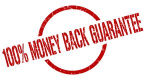 100% money back guarantee stamp. 100% money back guarantee red round stamp stock illustration